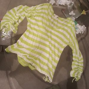 Coldwater Creek so so cute, green stripe linen top